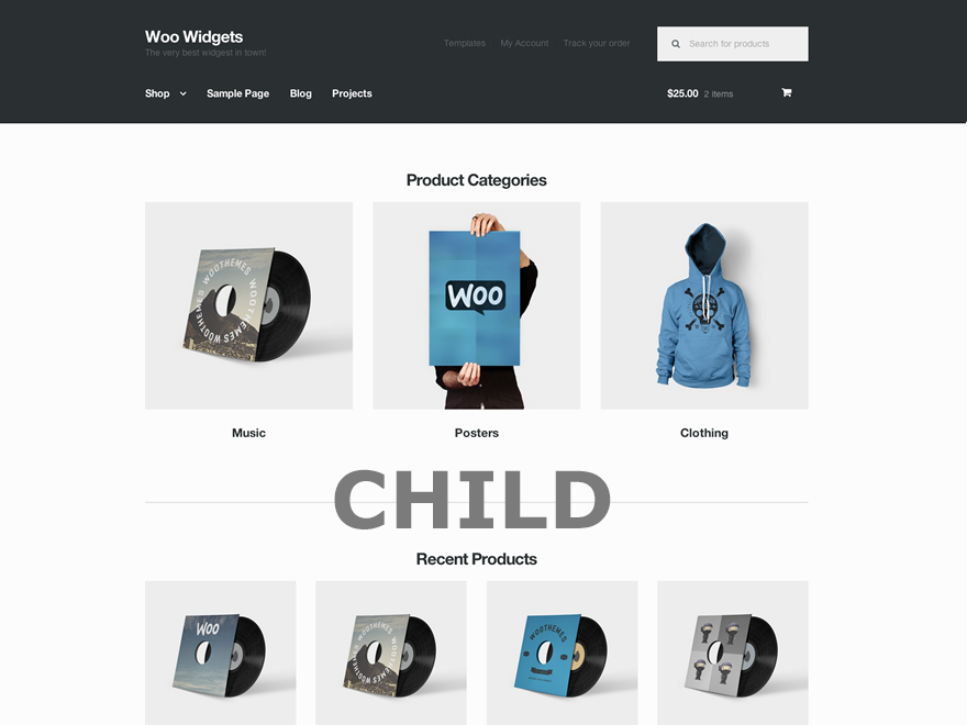 Screenshot di un child-theme per WordPress
